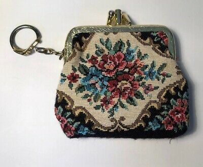 Vintage Cute Little Roses Tapestry Purse With Keychain