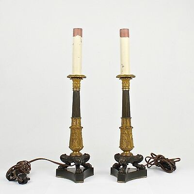 Pair of Finely Cast Doré Gilt Bronze French Empire Style Candlesticks - VR