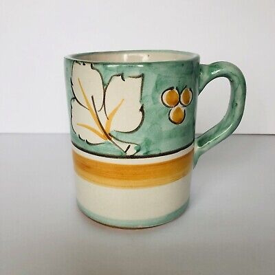 Solimene Vietri Hand Painted Italian Pottery Coffee Mug Leaf Design Replacement