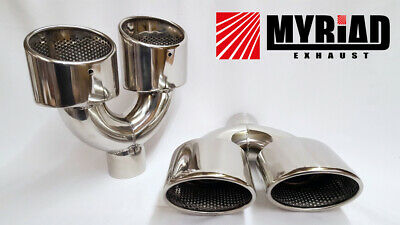 Mercedes AMG Golf R Exhaust Tail pipe Twin Exit Dual Tips Quad Stainless Chrome