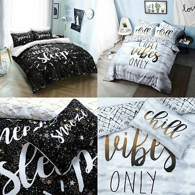 Sleep Slogan / Chill Vibes Polycotton Duvet Cover with Pillow Cases Bedding Sets