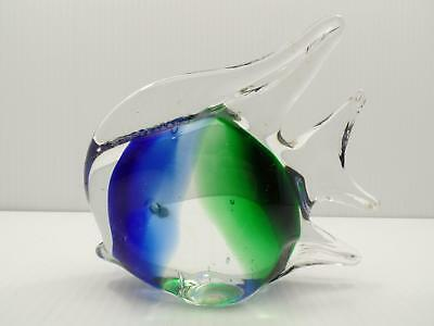 Art Glass Paperweight Angel Fish Tropical Murano Style Hand Blown #2 Blue Green