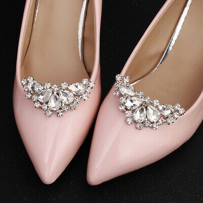 Rhinestone Wedding Bridal Bridesmaid Shoes Heels Clips Accessories Dance Party