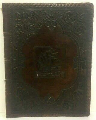 Large Leather Antique Book Jacket Cover Paperwork Folder Embossed Ship Motif