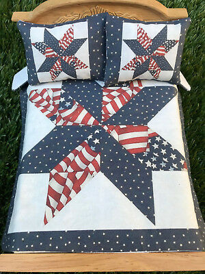 #C13 Mini Dollhouse Bedspread Comforter quilt 2 Pillows 1:12 scale OLD GLORY