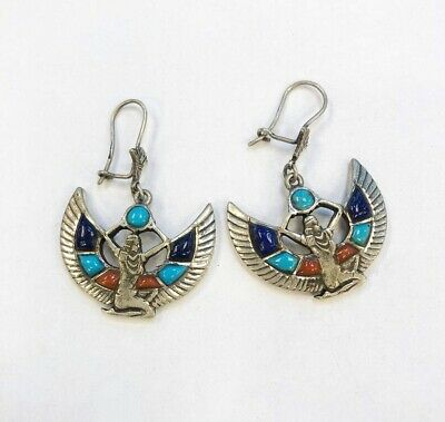 Rare Egyptian Authentic Stamped Sterling Silver, Gemstones WINGED ISIS Earrings