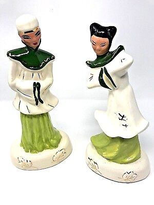 """Pair of Vintage 12"""" Geisha Porcelain Figurines Chinese Asian-Free Shipping"""