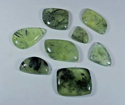 412Cts. Natural Prehnite Rutile Fancy Cabochon Loose Gemstone 08Pcs lot Xz256