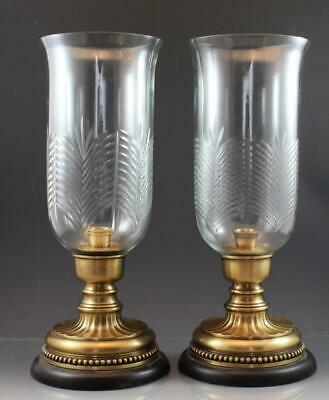 Pair Vintage Etched Glass & Polished Brass Hurricane Lamp Style Candle Holders