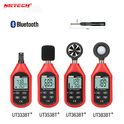 NKTECH Bluetooth Temperature Humidity Digital Sound Meter Anemometer Luxmeter