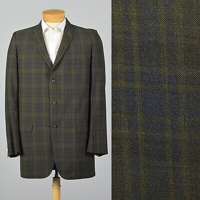 Large 1950s Extra Long Plaid Jacket Tall Summer 50s VTG Single Vent Blue Green