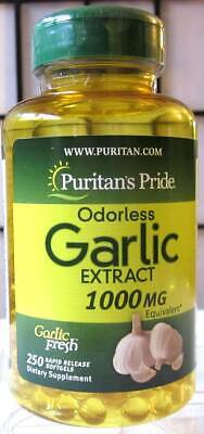 Puritan's Pride Odorless Garlic 1000mg 250 Sgel Allicin Cholesterol Heart +Bonus
