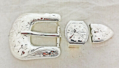 Kansas 3 Piece Buckle Set Hansen Western Silver Plate Horse Tack New Headstall