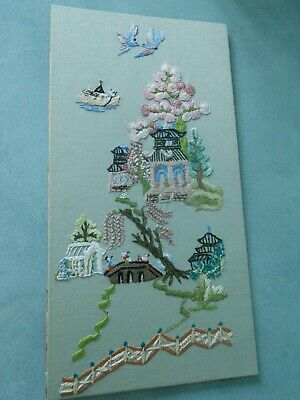Beautiful Vintage Chinese Japanese Hand Embroidered Willow Picture Panel Birds