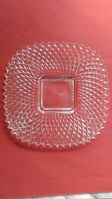 "Vintage Indiana Glass 7 1/2""  Footed Small Plate Serving Dish Diamond Point Cut"