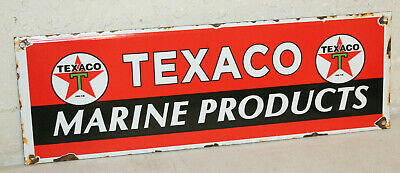 Texaco Marine Product Vintage Style Porcelain Signs Gas Pump Man Cave Station ..
