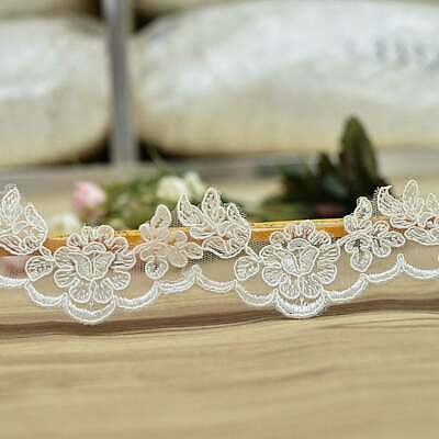 Floral Alencon Corded Lace Trim Boho Wedding Bridal Dress Veil Craft Embroidery
