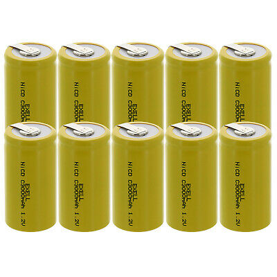 10x Exell C Size 1.2V 3000mAh NiCD Rechargeable Batteries with Tabs  USA SHIP