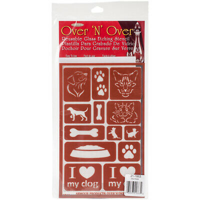 Armour Products Over N Over Glass Etchg Stencil 5 X 8 Paws