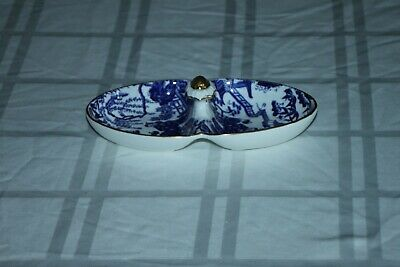 Royal Crown Derby BLUE MIKADO 2 Part Relish Tray with Gold Painted Handle