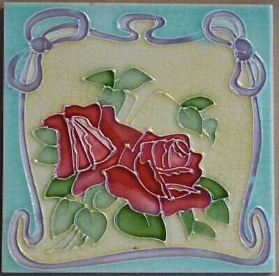 Antique Boote - Art Nouveau Majolica Tile C1900