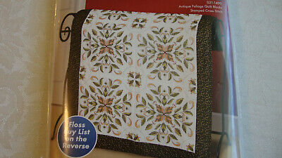 Janlynn Set of 6 Stamped For Cross Stitch Quilt Blocks Antique Foliage NEW