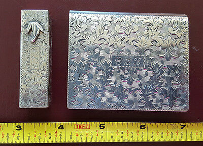 Stunning Vintage Sterling Silver Jeweled Compact & Matching Lipstick Holder