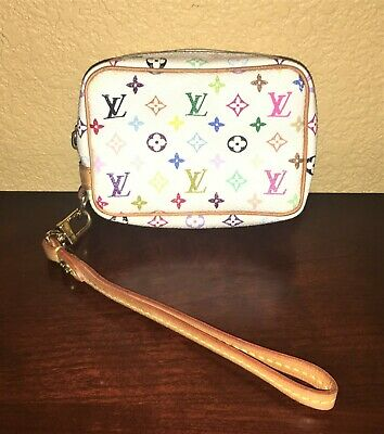 Authentic LOUIS VUITTON Monogram Multicolor Trousse Wapity Wristlet Case Pouch