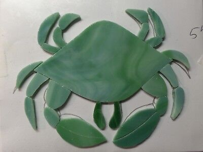 STAINED GLASS hand pre cut MOSAIC Inlay tile,stepping stone,beach,sea CRAB