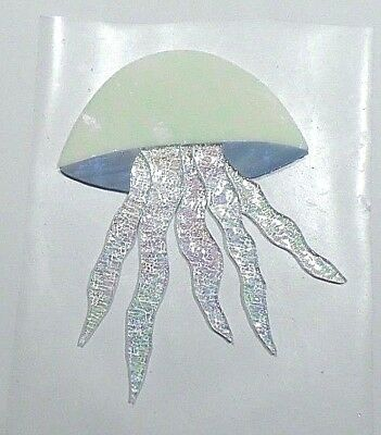 STAINED GLASS hand pre cut MOSAIC Inlay tile,stepping stone,sea life JELLYFISH