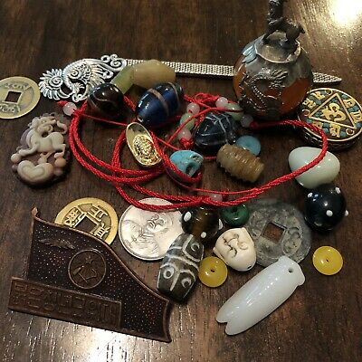 Old Antique Style Vintage Junk Drawer Lot Chinese Asian Collectibles Jewelry #