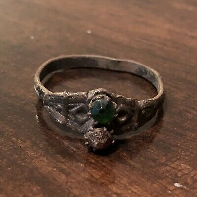 Late Or Post Medieval Ring With Stones Authentic European Old Artifact Jewelry