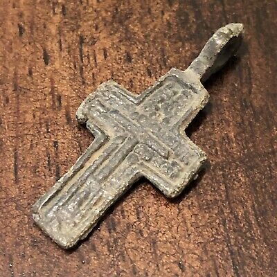 Pre-1750's Byzantine Cross Artifact Medieval European Russian Orthodox Pendant!