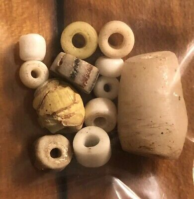 10 White Authentic Ancient & Medieval Mixed Bead Lot Roman, Phoenician, Venetian