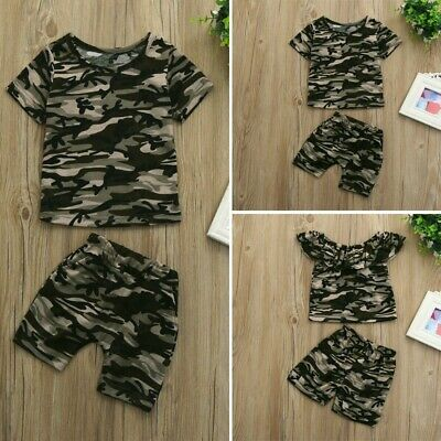 Toddler Kids Baby Boys Girls Camouflage T shirt Tops+Shorts Outfits Clothes Set