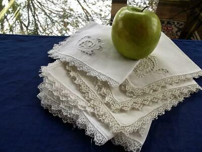 "Lot 8 Vintage White Linen Dainty 11"" Tea Napkins Needle Lace Inserts Embroidery"