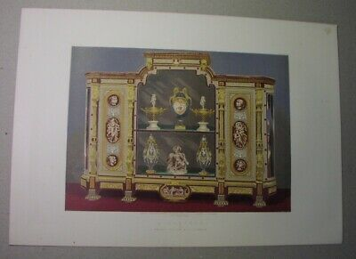 1863 color lithograph: CABINET by GILLOW of London, in Greco-Pompeian style
