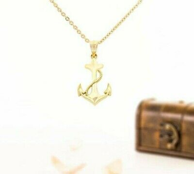 Gold Anchor pendant, 10k solid yellow gold, anchor necklace