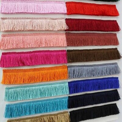 43 Colours!THICK SILKY Brush Fringe Tassel Trim Craft Upholstery Retro Tape Lace