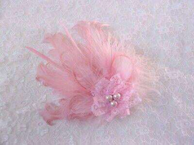 Small Vintage Style Pale Dusky Rose Pink Feather Pearl Hair Hat Clip Fascinator
