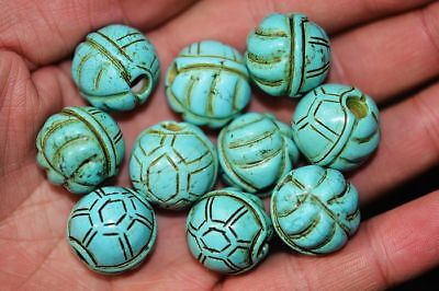 10 pcs Chinese Turquoise hand carved Tortoise Beautiful beads A7