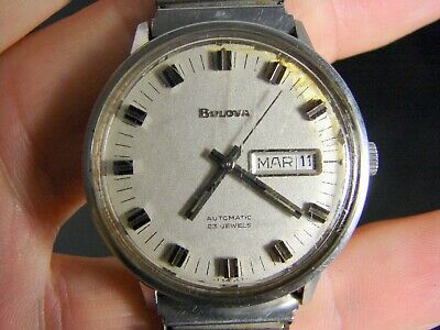 Bulova Swiss Made Mens 1970s Stainless Steel Automatic Watch 23 Jewels Day Date