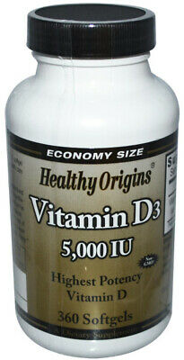 Healthy Origins Vitamin D3 5000 IU Highest Potency Vitamin D - 360 Softgels