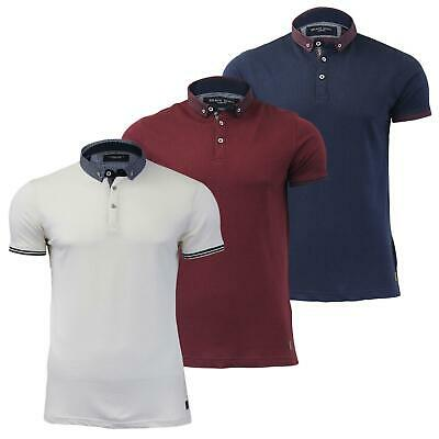 """Mens Polo T Shirt Brave Soul """"Surf"""" Textured Collared Short Sleeve Waffle"""