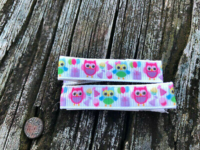 "Hair Clips a pair of cute little Green and Pink Owls 1 3/4"" Alligator clips USA"