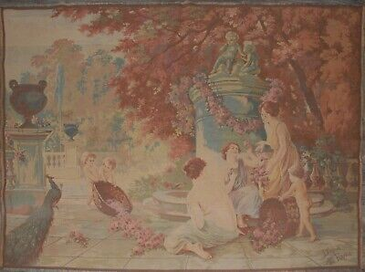 """Antique/ Vintage French Woven Wall Hanging Tapestry 188cm x 150cm ( 74"""" x 59"""")"""