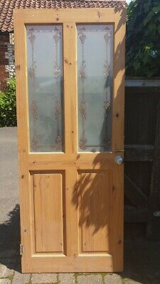 Set of 3 internal 4 panel pine doors with etched glass inserts, Edwardian style