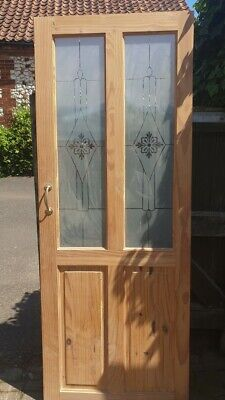Set of 2 internal 4 panel pine doors with etched glass inserts, Edwardian style
