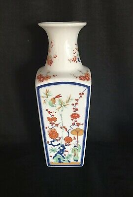 Fab Vintage Japanese Porcelain Flowers  Square Vase 26 Cms Tall