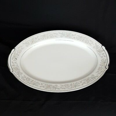 Majestic by Empress China 16 Inch Oval Serving Platter 203 Gray Floral Platinum